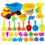 Produktfoto - 31-teiliges Sandspielzeug-Set von der Firma OviTop mit vielen Förmchen, Schaufeln, Sanduhr, Kipplaster uvm.